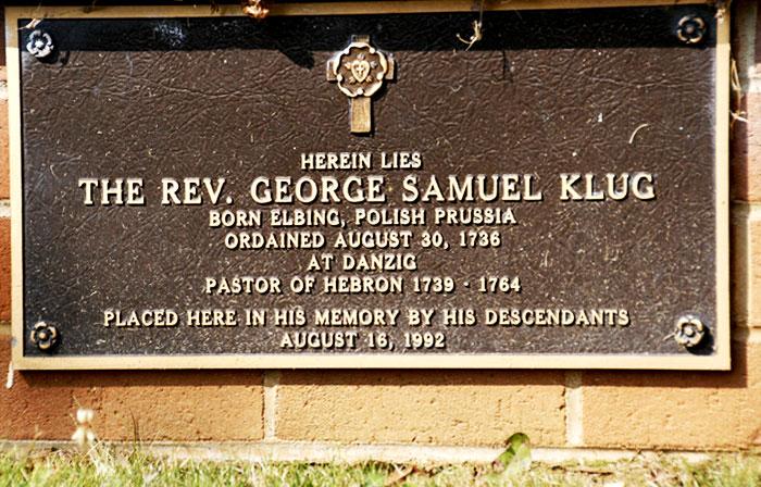 Hebron's Second Pastor George Samuel Klug